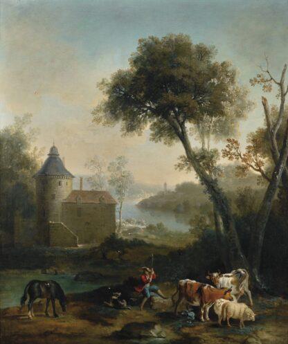 Jean-Baptiste_Oudry_-_Pastorale_avec_un_chàteau_l'arrière_plan_(1728)