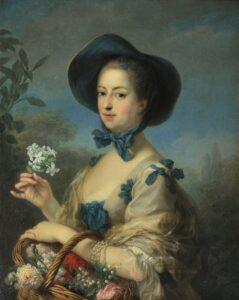Peinture du 18è siècle représentant une femme aristocrate tenant une fleur